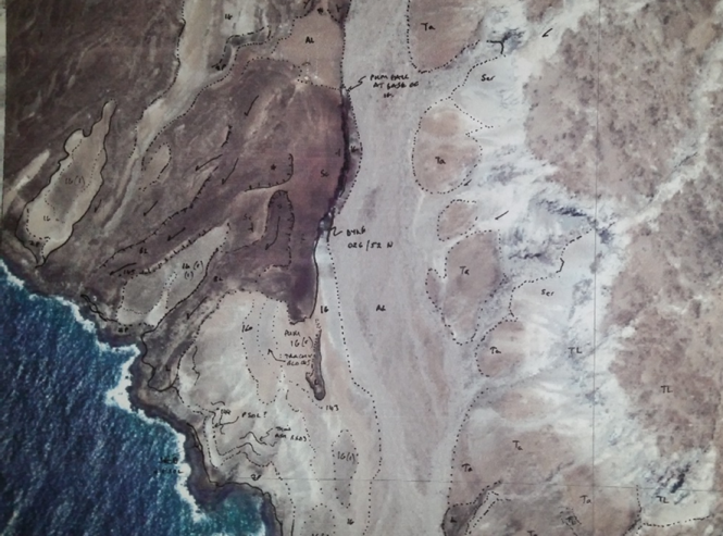 printout of satelite photo used in the field for geological mapping
